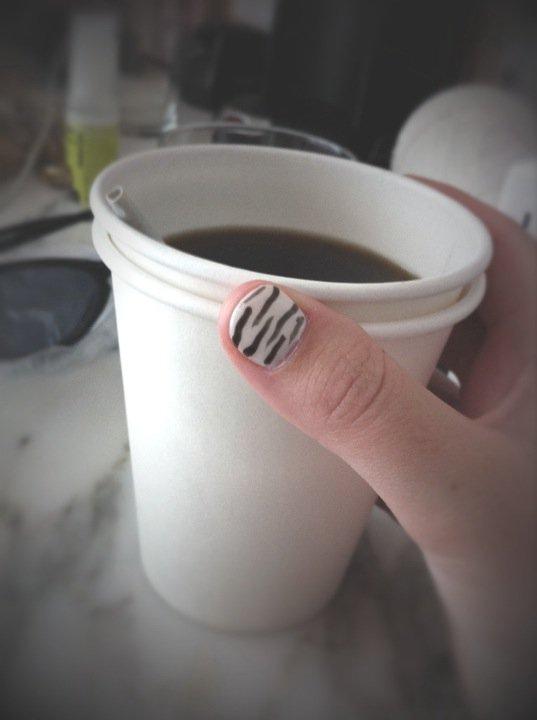 zebra striped nail art